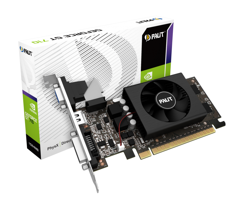 Видеокарта 1Gb/PCI-E/Palit NVIDIA GeForce GT 710 [GDDR5]  (NE5T7100HD06-2081F)