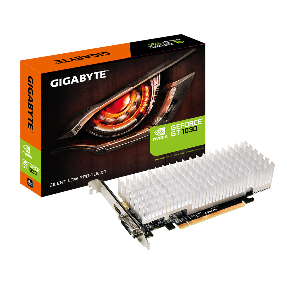 Видеокарта 2Gb/PCI-E/Gigabyte NVIDIA GeForce GT 1030 Silent Low Profile 2G [DDR5]  (GV-N1030SL-2GL)