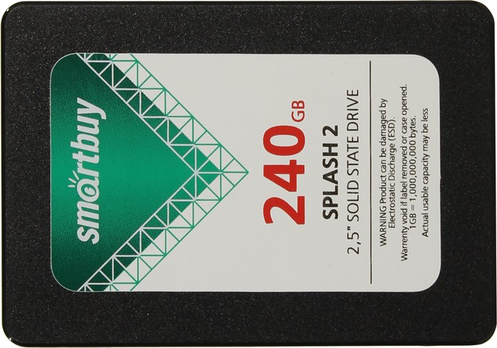 Диск SSD 2.5 240Gb Smartbuy Splash2 SATA III 6Gb/s, up to 530/420Mbs, TLC, 7mm  (SB240GB-SPLH2-25SAT3)