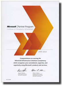 Microsoft - Certificate of Competency Achievement (08.10.2009 - 08.10.2010)